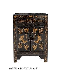 Chinese Brown Lacquer Golden Butterflies End Table - Golden Lotus Antiques