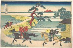 Katsushika Hokusai (Japanese, 1760–1849). Sekiya Village on the Sumida River (Sumidagawa Sekiya no sato), from the series Thirty-six Views of Mount Fuji (Fugaku sanjūrokkei), ca. 1830–32. The Metropolitan Museum of Art, New York. Henry L. Phillips Collection, Bequest of Henry L. Phillips, 1939 (JP2998) | As the distant snow-capped Fuji turns red at dawn, three riders on horseback gallop at full speed along the bank of the Sumida River. #horses