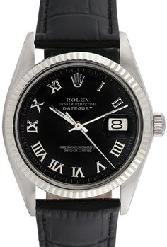 Vintage Rolex round stainless steel case with black refinished dial, white gold fluted bezel, and date window at 3 o'clock, circa 1960's-1970's * Condition: Vintage - Excellent (minor signs of wear) * Generic black leather strap * Automatic movement * Wat