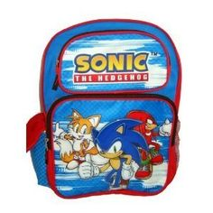 "SONIC THE HEDGEHOG 16"" LARGE SCHOOL BACKPACK by Animations. $19.45. Brand New Bag, Material A DURABLE VINYL MATERIAL.  THIS BAG IS BRAND NEW WITH TAGS ATTACHED IN THE ORIGINAL PLASTIC PACKAGE  MAIN ZIPPERED COMPARTMENT AT TOP TWO ADDITIONAL SMALLER ZIPPERED COMPARTMENTS AT FRONT ADDITIONAL VELCRO POCKET ON EACH SIDE OF BAG ADJUSTABLE PADDED SHOULDER STRAPS  Perfect for shopping, travel, school, easy to carry around!!  Dimensions: 12"" L?30.48cm)X 16""H (40.64CM) X 5""W (1..."