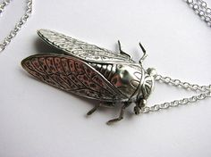 cicada necklace silver by friendlygesture on Etsy