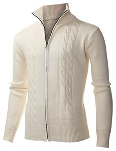 FLATSEVEN Men's Casual Cable Knit Full-Zip up Wool Sweater Cardigan (PZ405) Ivory, XL FLATSEVEN http://www.amazon.com/dp/B00Q099IM6/ref=cm_sw_r_pi_dp_uaC0ub0R3HNHQ #Men's Casual #Cable Knit Full-Zip up #Sweater #FLATSEVEN #Fashion #men