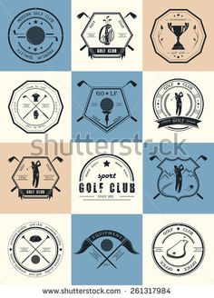 Vector set of golf club logos, labels and emblems. Golfer playing vector logo…