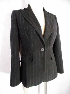 Ann Taylor Blazer Sz XS Black Pin Stripe Womens Career Business Single Button