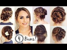 NO HEAT HAIRSTYLES! 4 Unique Messy Buns - Jackie Wyers - YouTube