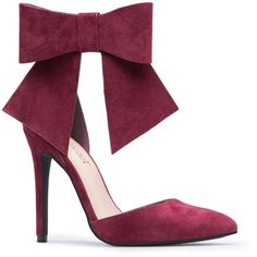 ShoeDazzle Pumps Chloee Womens Red ❤ liked on Polyvore featuring shoes, pumps, red, pointy toe pumps, red pumps, bow shoes, pointed toe shoes and pointed toe pumps