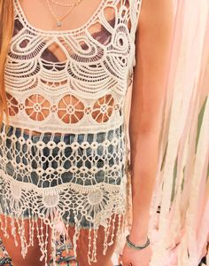 This is THE festival top or bathing suit cover you've been searching for! #fringe #crochet #boho #festival #fashion