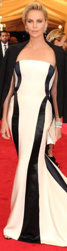 Charlize Theron in balck and white long  Dior at the 2014 Met Gala
