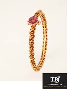 Daily wear traditional bangle with Ruby flower #tbjewellery #Goldenmoments #gold…