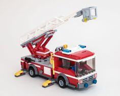 Rebuild of 601017 Fire Ladder Truck Lego Ambulance, Lego Police, Lego Military, Lego City Fire Truck, Fire Trucks, Jurassic Park Jeep, Transporter Van, Lego Fire, Lego Club