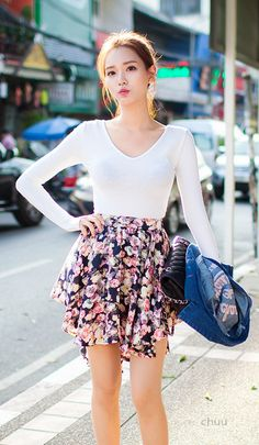 Handkerchief Hem Floral Skirt #koreanfashion Winter Fashion 2014
