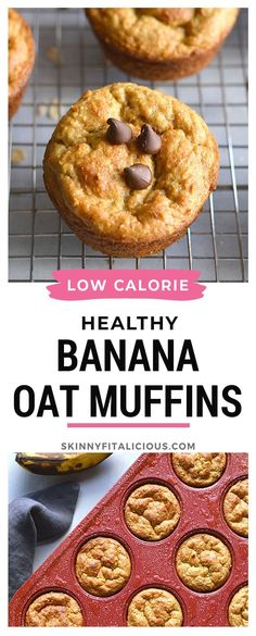 Healthy Banana Oat Muffins are low calorie, made with no flour or oil and no added sugar. #banana #muffin #oat #flourless #healthy #healthyrecipe #lowcalorie #glutenfree #low #calorie #oilfree Banana Oat Muffins, Gluten Free Recipes, Healthy Recipes, Food Map, Weight Watchers Meals, Free Food, Glutenfree, Dairy Free, Healthy Eating