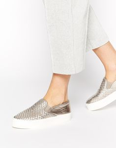 Carvela Lagos Pewter Woven Leather Slip On Trainers