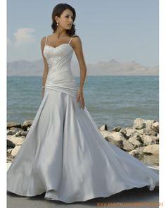 2013 Brautmode für Strandhochzeit aus Satin Herzförmiger Ausschnitt Brautkleid mit Spaghettisträger Perlenverzierter asymmetrischer Rock mit Schleppe
