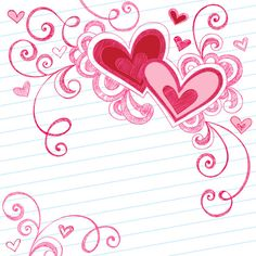 Illustration about Vector Illustration of Hand-Drawn Sketchy Notebook Doodle Valentine s Day Love Hearts and Swirls on Lined Paper Background. Illustration of illustration, intricate, scroll - 11112942 Doodles Zentangles, Zentangle Patterns, Doodle Patterns, Doodle Drawings, Doodle Art, Henna Doodle, Notebook Doodles, Notebook Paper, Doodle Borders