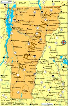 Map of Vermont is the 14th state to enter the union.  It became a state on Mar.4, 1791.