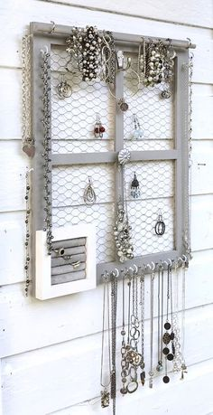 Your place to buy and sell all things handmade - Wall mounted jewelry organizer and display - Diy Earring Holder, Diy Jewelry Holder, Jewelry Hanger, Jewlery, Jewellery Storage, Jewellery Display, Jewellery Organizer Diy, Hang Jewelry On Wall, Wall Mount Jewelry Organizer