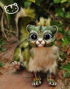 Forest Chibi Dragon Spirit Poseable art doll by LisaToms on Etsy