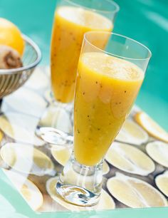 Start the day with this zingy and fruity fresh smoothie - perfect for breakfast-on-the-go or a midday snack. Learn how to make this at Tesco Real Food. Mango Smoothie Recipes, Smoothie Bowl, Healthy Smoothies, Healthy Drinks, Healthy Recipes, Tesco Real Food, British Baking, Food Menu, Food Gifts
