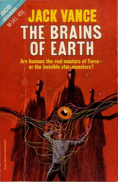 """scificovers: """"The Brains of Earth by Jack Vance. Ace Double M-141, 1966. Cover art by Jack Gaughan. """""""