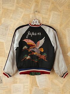 $928 Vintage Reversible Silk Embroidered Bomber Jacket