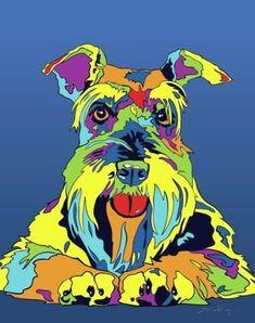 Multi-Color Schnauzer Dog Breed Matted Prints & Canvas Giclées - MULTI-COLOR DOG PRINTS #miniatureschnauzer