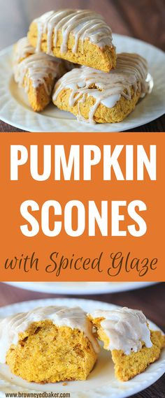 Pumpkin Scones with Spiced Glaze These pumpkin scones are a copycat version of Starbucks' pumpkin scone; they are warmly spiced and topped with two sweet glazes – one plain and one spiced. Breakfast Recipes, Dessert Recipes, Fall Breakfast, Breakfast Scones, Pumpkin Breakfast, Breakfast Healthy, Potluck Recipes, Sweet Breakfast, Breakfast Ideas