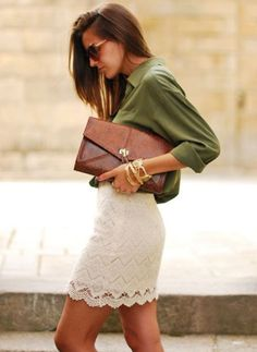 Love this entire outfit! Olive silk top, cream lace skirt, and boa envelope clutch