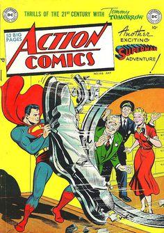 Superman Poster Vintage Superhero Action Comics 146 Book Poster enlarged & framed giclee print that Superman Comic, Superman Poster, Superman Action Comics, Superhero Poster, Comic Book Superheroes, Dc Comic Books, Vintage Comic Books, Dc Comics Art, Vintage Comics