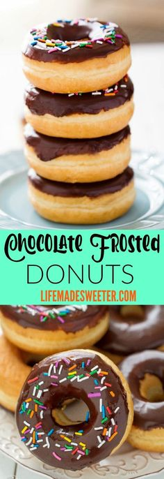 Chocolate Frosted Donuts with Sprinkles - an all start recipe based off of Alton Brown's yeasted doughnuts. Makes the perfect sweet treat and best of all, the chocolate glaze and sprinkles makes it a fun & delicious treat!