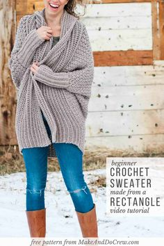 Beginner Crochet Cardigan - Video Tutorial + Free Pattern Learn how to make a figure-flattering cardigan from a simple rectangle in this free beginner crochet sweater pattern and tutorial. One Skein Crochet, Cardigan Au Crochet, Pull Crochet, Single Crochet Stitch, Crochet Shawl, Crochet Sweaters, Crotchet, Double Crochet, Crochet Shrugs
