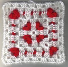 Acorralado Corazones Square - Diversión Crochet Un Tronco-Full O '!