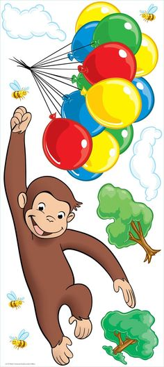 Amazon.com: (18x40) Curious George Balloons Repositional Wall Decal: Childrens Wall Decor: Posters & Prints