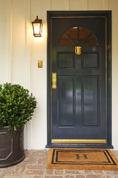 Navy Blue Front Door, Traditional, entrance/foyer, Jenn Feldman Designs