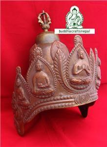 GH01 Pure Copper Bronze Antique Newari Vajracharya Buddhist Crown Handmade Nepal | eBay