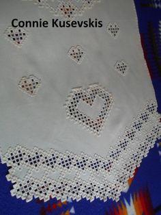 Garden of Hearts Hardanger Runner - stitchin fingers