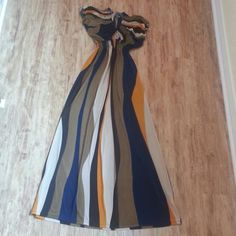 """SILK color block maxi dress Shades of brown, navy, gold, orange and tan colors. Low scoop neck with elastic gauged at waistline and arms as shown in pic#2. I'm 5ft 4"""" and reaches at ankles. 65%silk 35% polyster. Used twice. In excellent condition! Let's negotiate  Julia Dresses Maxi"""