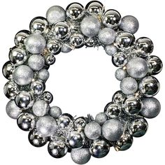 The Holiday Aisle Battery Operated Ball Wreath Wreath Color: Silver Silver Wall Clock, Copper Wall Art, Silver Walls, Wreath Hanger, Diy Wreath, Ornament Wreath, Wreaths, Battery Powered Led Lights, Battery Operated
