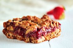 Strawberry honey oatmeal bars. In the oven now...