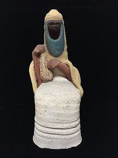 DAVID KALDERON ISRAEL CLAY FIGURINE OF A WOMAN W/ INSTRUMENT SIGNED as-is b3