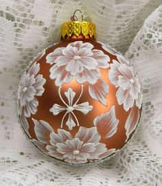 Copper MUD Ornament with Flowers and Vertical Bling. $20.00, via Etsy.