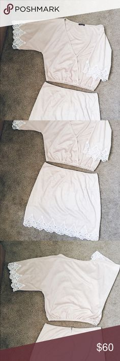 Winston White Vegan Suede Set Worn once for the top and never worn for the bottom. Original price top $160 bottom $120. Both Size M. winston white  Tops Crop Tops