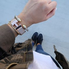 Spring Style via Glitter & Gingham // Hermes Bracelet, Camo Jacket Hermes Bracelet, Hermes Jewelry, Fashion Bracelets, Fashion Jewelry, Women Jewelry, Gold Fashion, Jewelry Insurance, Amber Jewelry, Jewelry Branding