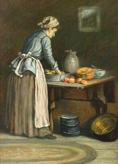 Edward Burrill,    In the Kitchen,    19th century- reminds me of Nanny Littleworth in Project Darcy