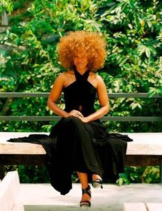 Love this look. The black dress and shoes and the natural hair. The hair color is bit bold for me, but I like the style.