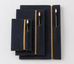 Selvedge Denim Notebook Covers : A cool and simple idea for the moleskin and required drawing utensil.