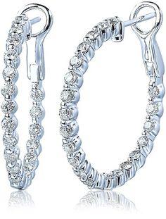 14k White Gold 1.5 Cttw Diamond Inside-Outside Hoop Earrings - List price: $3,595.00 Price: $1,515.00 Saving: $2,080.00 (58%)