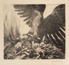 valère bernard (1860-1936) allégorie de la guerre. (l'aigle allemand écrasant un tas de cadavres). vers 1914. eau-forte,