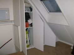 walk in closet Built-in cupboard under sloping roof on overflow - Built-in cupboard under sloping ro Built In Cupboards, Attic Stairs, Inside Home, Loft, Walk In Closet, Home Projects, Small Spaces, Home Improvement, Sweet Home