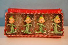1959 Holt Howard Christmas Pixie Elves Name Holders In Original Box